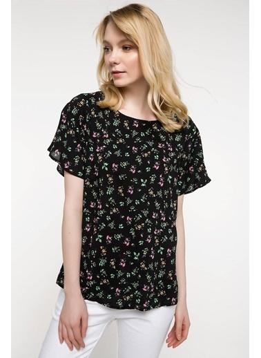 DeFacto Kolları Volan Detaylı Çiçek Desenli Bluz Siyah